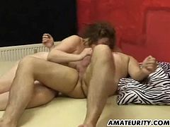 A chubby amateur housewife with big tits gives head and gets fucked hard on her bed at home ! Blowjob, doggystyle, cum on belly ! Genuine amateur movie !