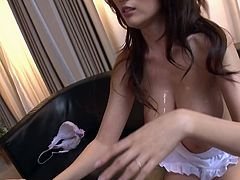 Watch as this hot milf has her tits oiled up. She is feeling horny and is in need of a big cock. The slut is bent over and pounded so hard from behind. This milf has amazing floppy tits and her man loves to fondle them.