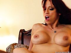 Bruce Venture admires fascinating Nicki Hunters body before she takes his love stick in her pussy