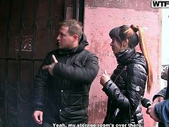 Katerina is approached by these two guys, who shower her with compliments on her beauty (as if she didn't already know she was fine). They also offer her money to go somewhere with them and do sexual things. How much did they give her to get naked with them? Watch and see how much and how far she goes.