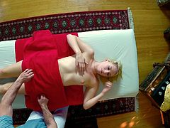 Horny blonde goes for a massage and receives cum in her mouth