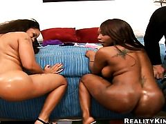Piercings Jada Fire with juicy boobs and clean twat touches her vagina and breasts gently