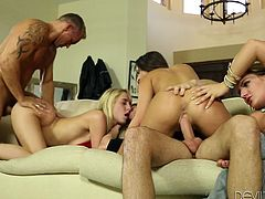 A housewarming party allows both the new arrival and longer-tenured residents to get to know each other. These neighbors are really getting to know each other with this steamy orgy taking place. There is pussy and dick all over the place, penetrating all holes and enough squirting to satisfy all.