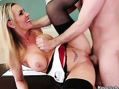 Tanya Tate with big jugs and bald beaver cant live a day without getting fucked by horny guy James Deen
