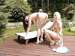 Blonde Brandy Smile with giant breasts needs nothing but Zafiras delicious lesbian snatch to lick to get orgasm