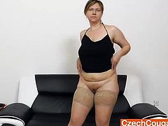 Iva uses her huge dildo to please that ragged twat of hers and to show you guys a good time while she is at it
