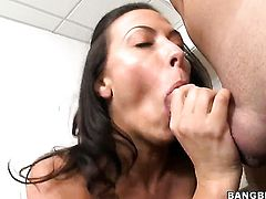 Rachel Starr is licking a dick