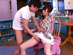 Pretty stunner Kaede Fuyutsuki gets her nice face painted with man goo after sex with hot man