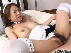 Some Asian maid getting fucked from the back doggy style by her man. She loves how good he feels in her cunt so she urges for him to do her better. Too damn hot.
