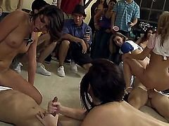 Some porn stars invade a dorm room and have group sex on the floor as the students are watching and cheering. See them all having fun.