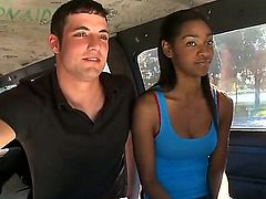 Santi is an ebony amateur that is in the back of a van. She is giving a blow job and is payed good money to be filmed as she does it.