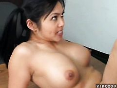 Asian Mika Tan lets horny man shove his cock in her pussy in interracial action