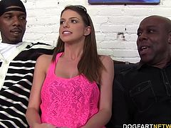 The returning busty babe Brooklyn Chase sucks down seven black cocks and offers up the same pussy that her neglectful boyfriend is treated to.