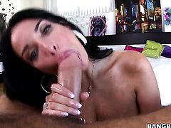 Brunette Anissa Kate with juicy jugs gets down and nasty in hardcore sex action with horny guy