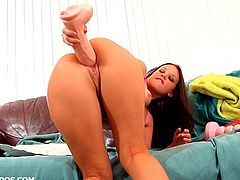 Thick brunette with great lips Roxy Raye fucks two big dildos