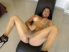 Watching this hottie do a dance around the stripper pole in my living room is truly erotic. She has a nice huge ass and amazing tits. Even better she has a massive cock, that she loves to stroke. Really spicy stripper!