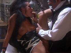 Sexy brunette Alektra Blue gives sensual blowjob to a lucky man then spreads her legs and gets her tight love hole stuffed. He has a wonderful time banging her  lovely pussy