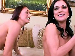 Alyssa Reece and Karlie Montana get completely naked in front of each other. Hottie exposes her nice butt and gets her trimmed pussy tongue fucked. Watch sweet brunettes have lesbian sex.