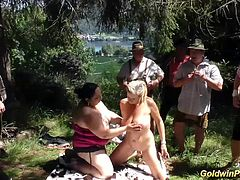 hot lederhosen gangbang with pierced busty german bbw chicks in nature