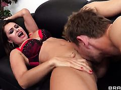 Erik Everhard touches the hottest parts of cute Nora Noirs body before he penetrates her twat