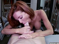Marvelous doll with natural tits in jeans gives her horny guy blowjob then moans while her pussy is being drilled till she gets a facial cumshot