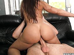 Brunette Lisa Ann with big jugs strokes the sperm out of dick