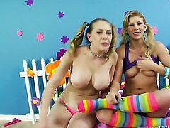 Darla Crane and Jessie Volt enjoy another lesbian sex session in front of the camera