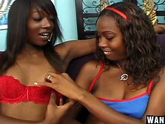 These chocolate babes are in the mood for some sensual lesbian action. They passionately kiss, as they explore each other's bodies. The brown babe love to eat out each other's warm cunts. Which one will climax from the soft touch of her lover's tongue?