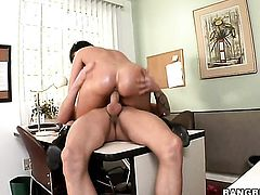 Brunette doll Eva Karera jerks the cum out of cock