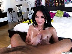 Huge tits brunette is sucking a dick