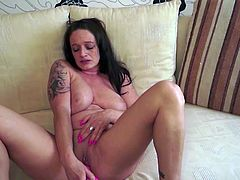 This sexy German Mature brunetter just likes sex and cumming. What better way to pleasure yourself than with a dildo?! She plays, fucks and licks the dildo as if it were her personal cock... And it is!