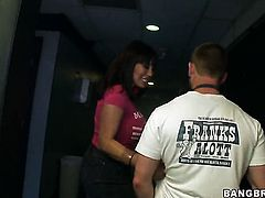 Brunette Ava Devine gets her hands banged with no mercy