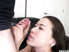 Oriental Lily is good on her way to make hard dicked dude explode on oral action