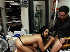 Latin Missy Martinez with juicy butt gets the hole between her sexy legs used in front of the camera