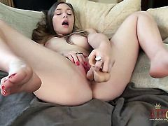 Brunette Aurielee Summers dreaming about real sex with real man with sex toy in her vagina