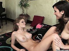 Enchanting tramp Erin Avery is too horny to stop lesbian love session with pussy-hungry Faye Reagan