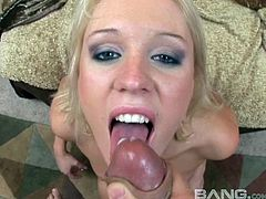 His big cock feeds this cute blonde some sticky protien