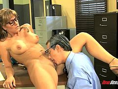 Alluring brunette with glasses bends for a hardcore doggystyle fucking
