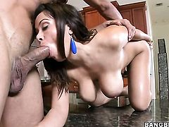 Brunette Sienna West with phat butt is just a slut that masturbates a guy the way she can