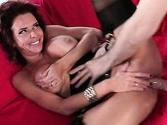 Passionate gal Veronica Avluv with massive melons is so wet and so horny that fucks like a sex crazed animal