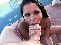 Hot bodied sexy hussy Diamond Kitty with gigantic boobs makes Danny D happy by sucking his hard dick before booty fucking