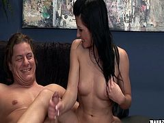 He charms the clothes off of Rebecca Linares and fucks her