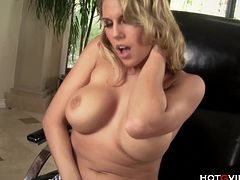 Charisma Cappelli, busty blonde dirty talking porn star, uses the Hotgvibe on her perky, hard nipples and sensitive, shaved pussy until the sex toy gives her an amazing orgasm.