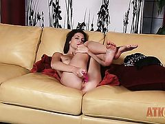 Brunette exotic temptress Kiera Winters with small boobs and trimmed twat posing for your viewing entertainment in solo action