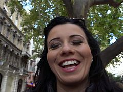 Raven haired European lady Vicky Love gets picked up in the street. Cash hungry woman pulls her panties down and gets her nice pussy touched by a sex hungry guy. He cant wait to fuck that girl.
