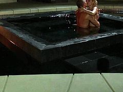 Blonde haired beautiful girl Aaliyah Love with sexy tits spreads her legs for a her fuck buddy in the pool at nighttime. She gets her wet snatch licked and fucked. Watch hot couple make love.