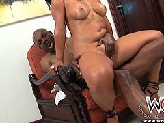 Oiled full of emotions and sweaty brunette nympho rides stiff black dick