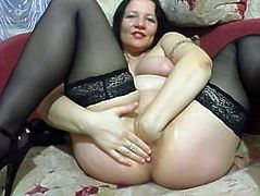 Russian milf, fisting, giant sex toy