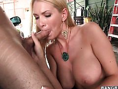 Blonde porn diva Blake Rose and her hard dicked fuck buddy both enjoy blowjob session