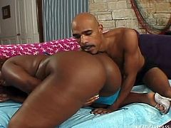 Take a look at this fat black babe. She is so sexy and fine, and she can't get enough of her man's huge black cock. His favorite hobby is shoving his massive erection deep into her lovely cunt. She has hot saggy tits and knows how to blow.